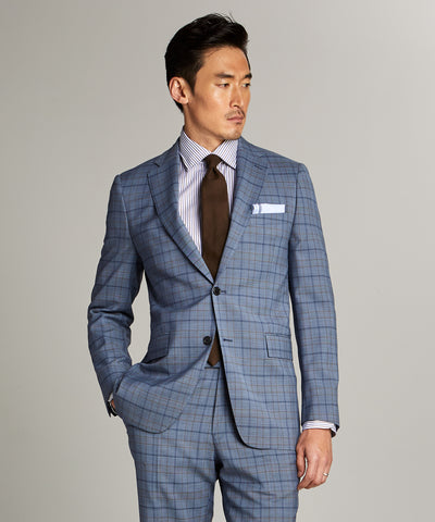Sutton Wool Suit Jacket in Blue Check