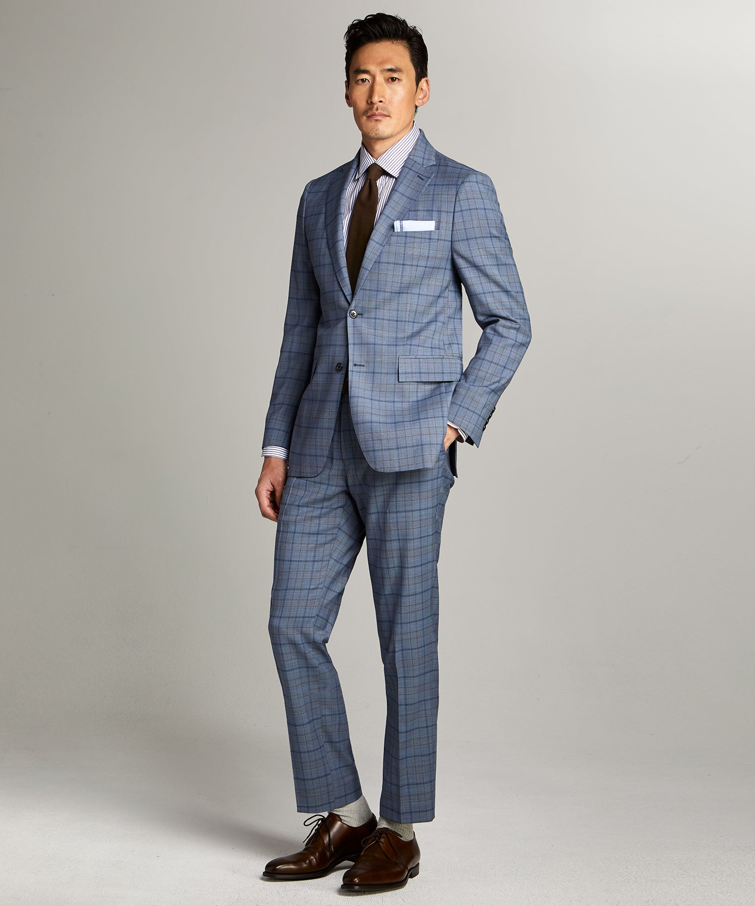 Sutton Wool Suit in Blue Check