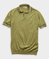 John Smedley Tipped Sea Island Cotton Polo Sweater in Willow Green