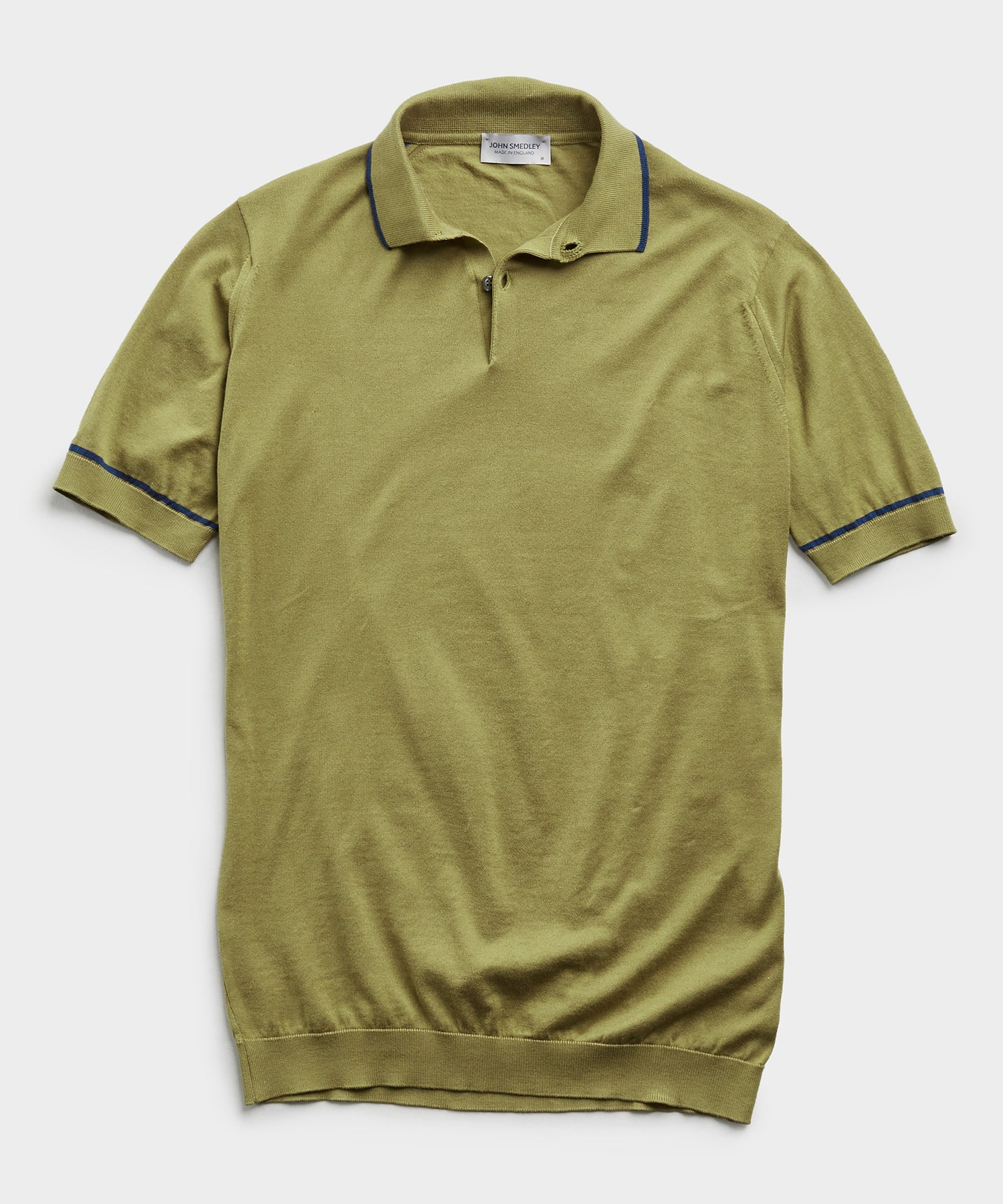 John Smedley Tipped Sea Island Cotton Polo in Willow Green
