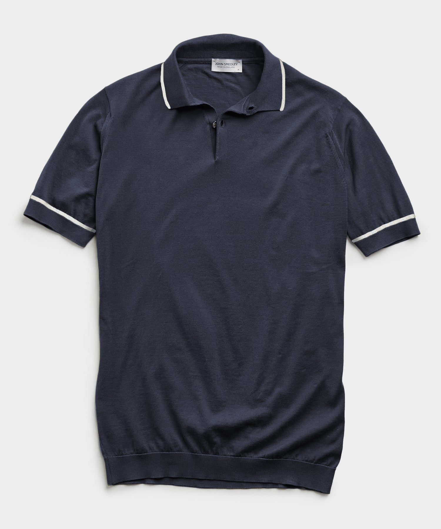 John Smedleys Sea Island Cotton Tipped Polo in Navy