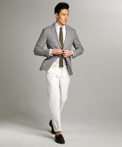 Wool/Linen Basketweave Sutton Sport Coat in Grey
