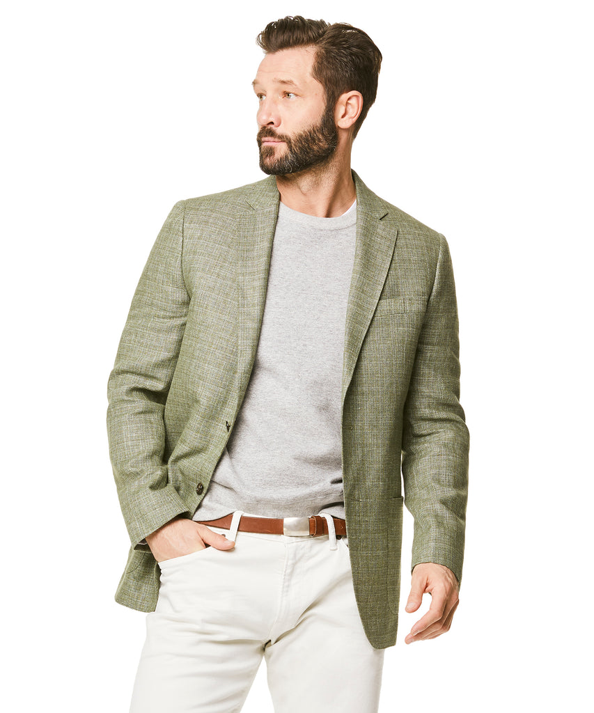 Wool/Linen Basketweave Sport Coat in Olive