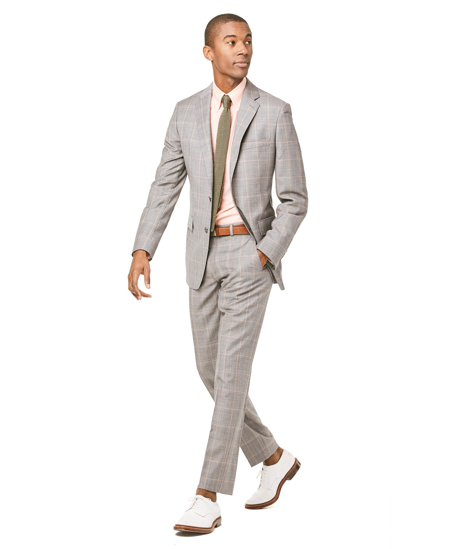 Prince of Wales Tropical Wool Sutton Suit Jacket in Grey