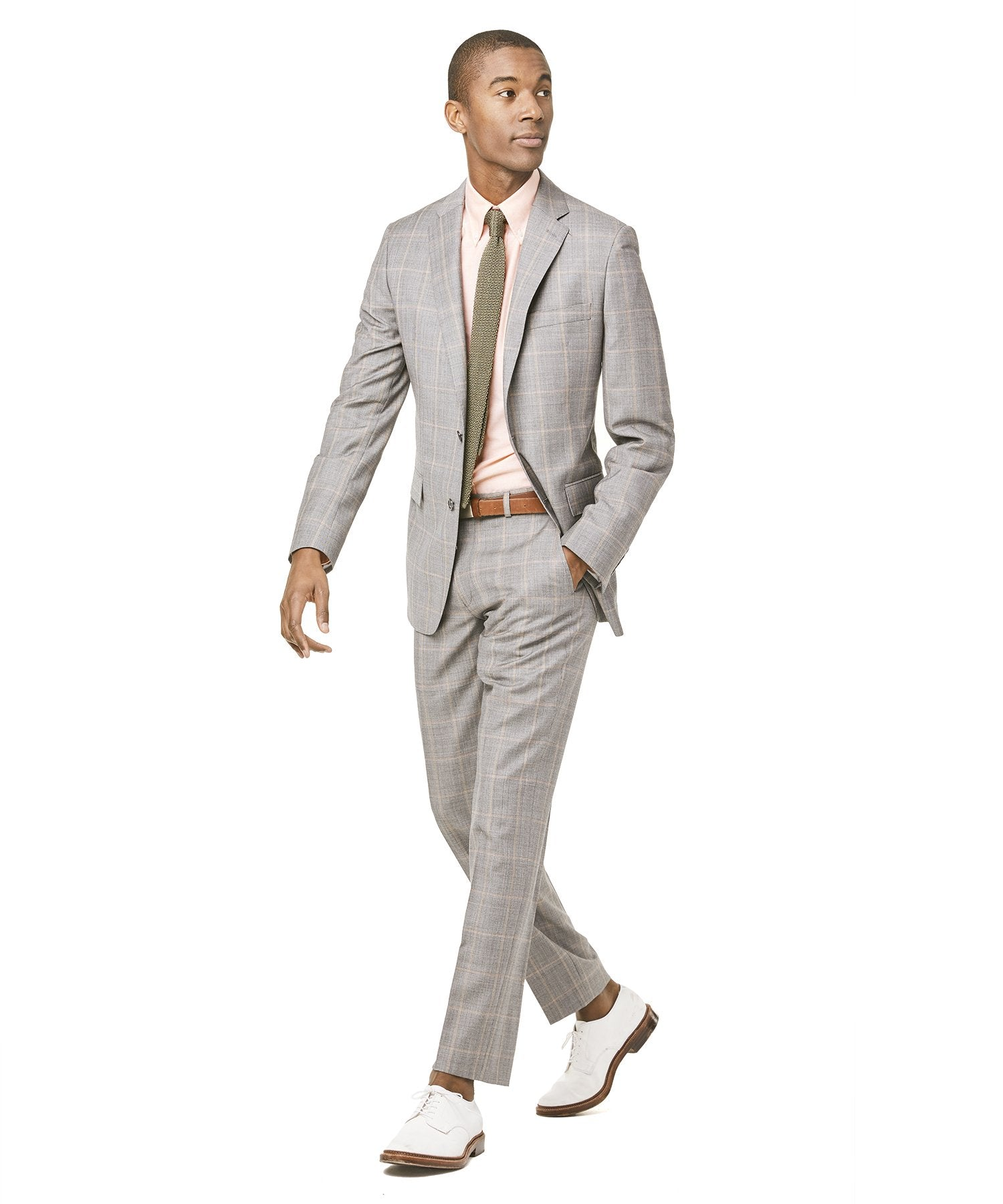 Todd Snyder White Label Prince of Wales Tropical Wool Sutton Suit in Grey
