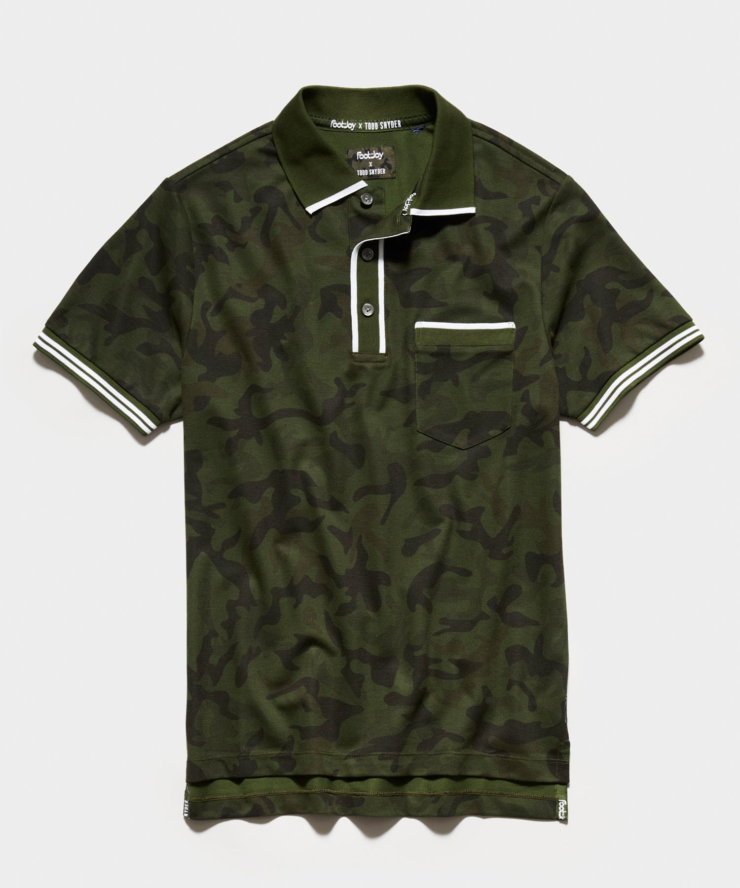 Footjoy x Todd Snyder Tipped Polo in Olive Camo