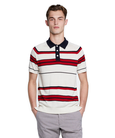 Stripe Cotton Silk Micro Mesh Polo in White