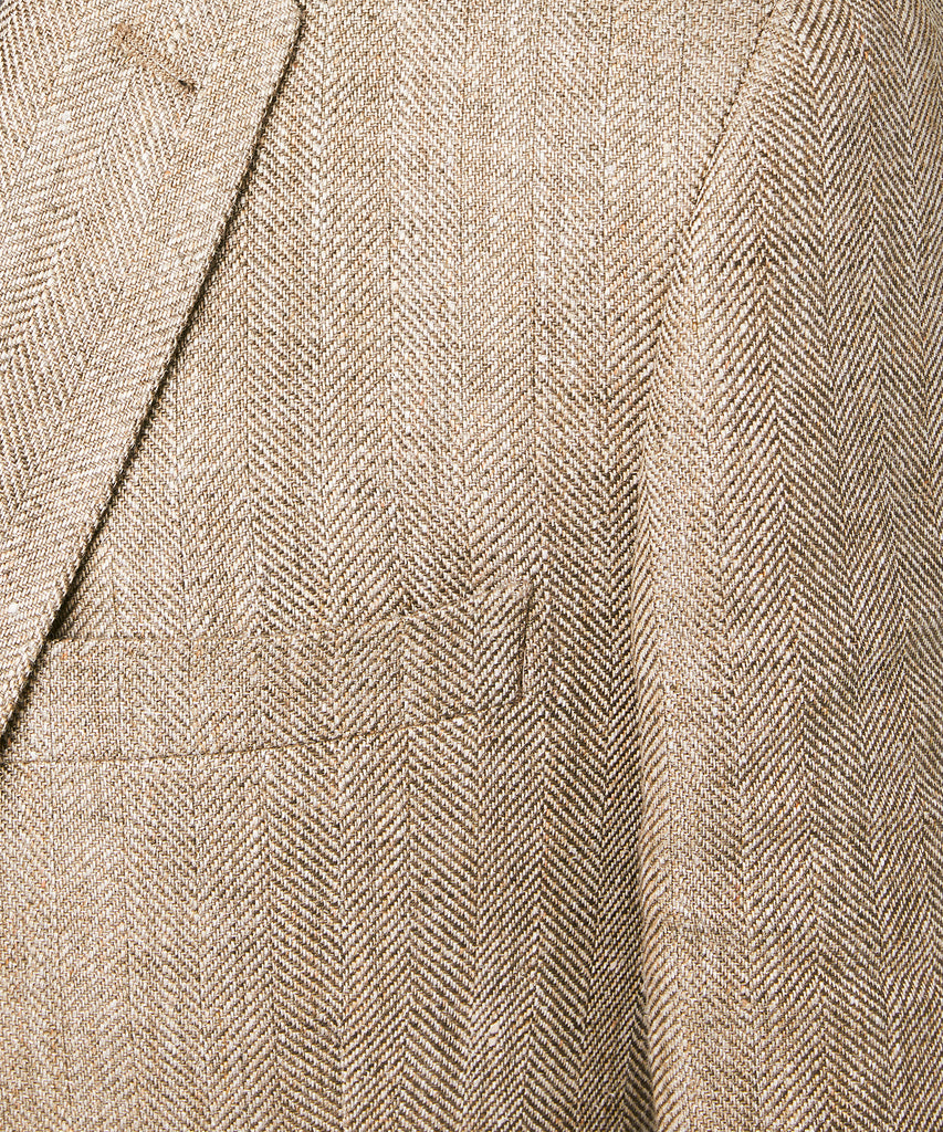 Linen Herringbone Sutton Sport Coat in Brown