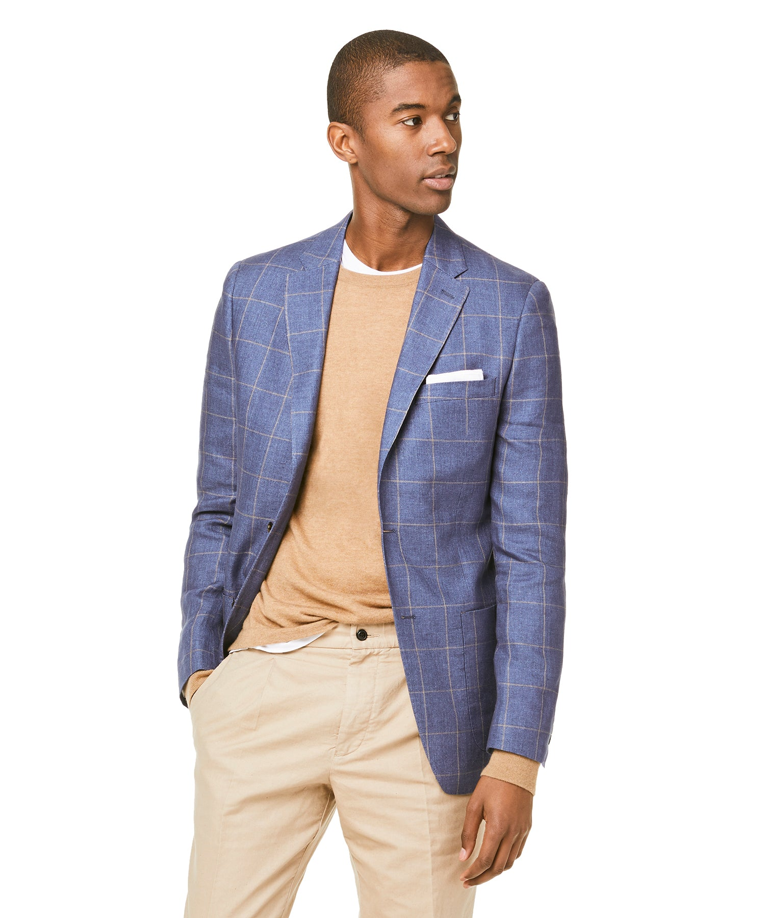 Linen Windowpane Sutton Sport Coat in Navy