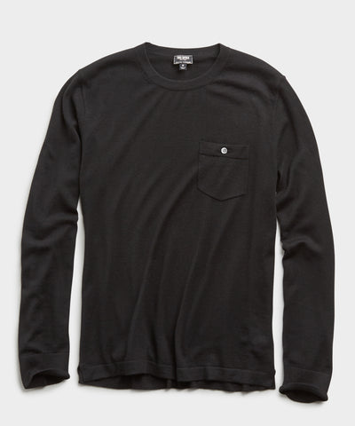 Italian Cashmere T-Shirt Sweater in Black