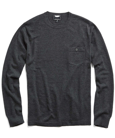 Italian Cashmere T-Shirt Sweater in Charcoal