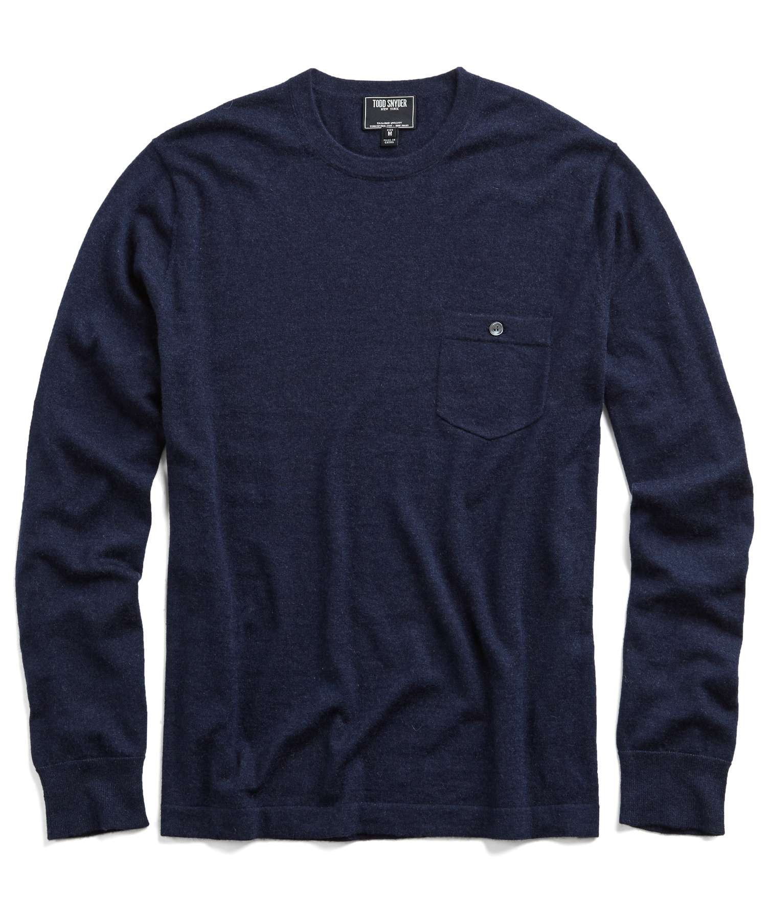 Cashmere T-Shirt Sweater in Navy Heather