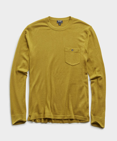Italian Cashmere Pocket T-Shirt in Guacamole
