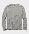 Italian Cashmere Pocket T-Shirt Sweater in Heather Grey