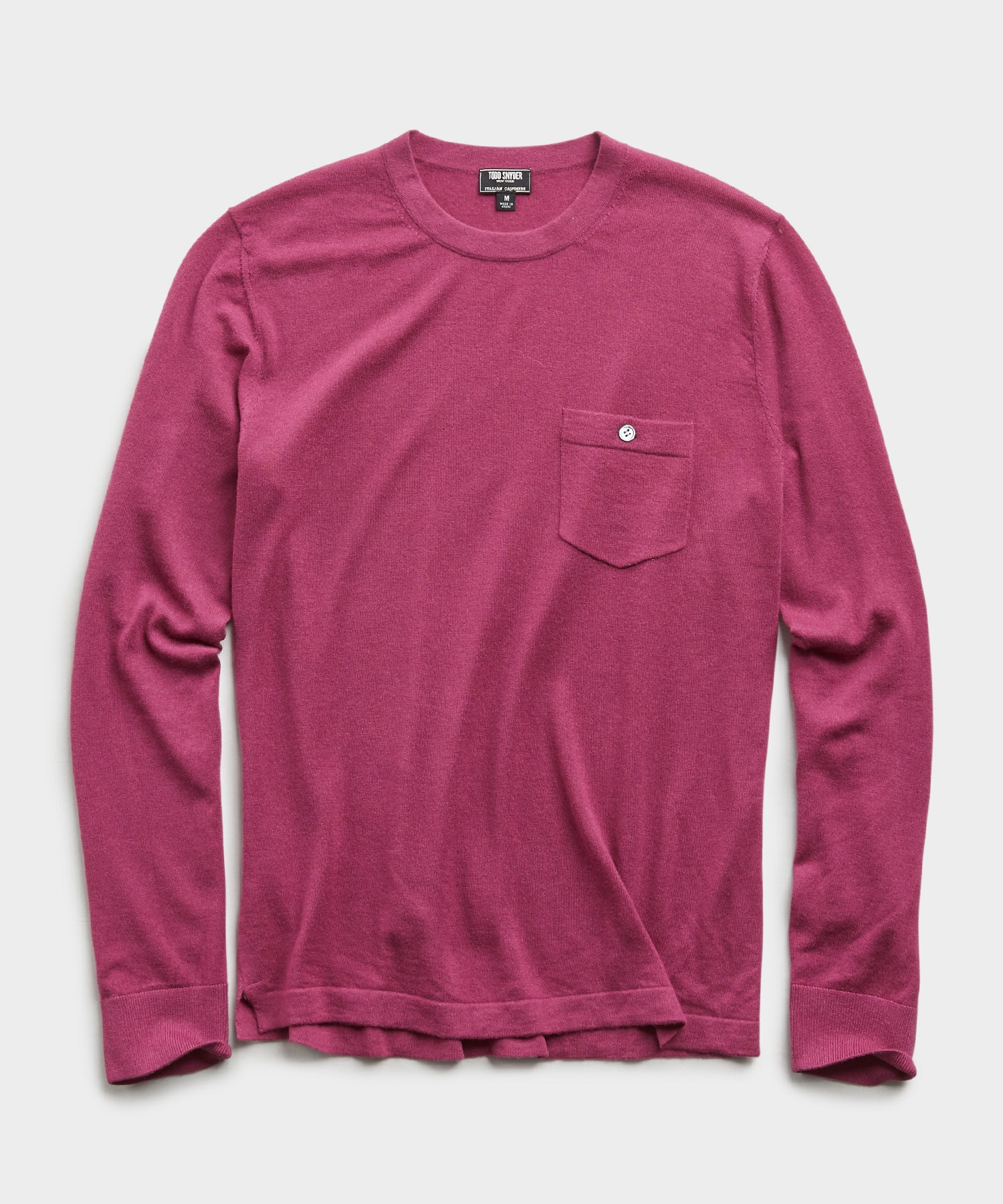 Italian Cashmere Pocket T-Shirt Sweater in Magenta Mist