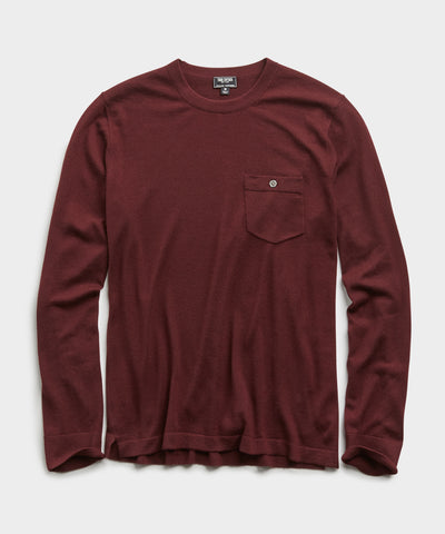 Italian Cashmere Pocket T-Shirt Sweater in Plum