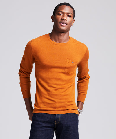 Italian Cashmere Pocket T-Shirt Sweater in Spice