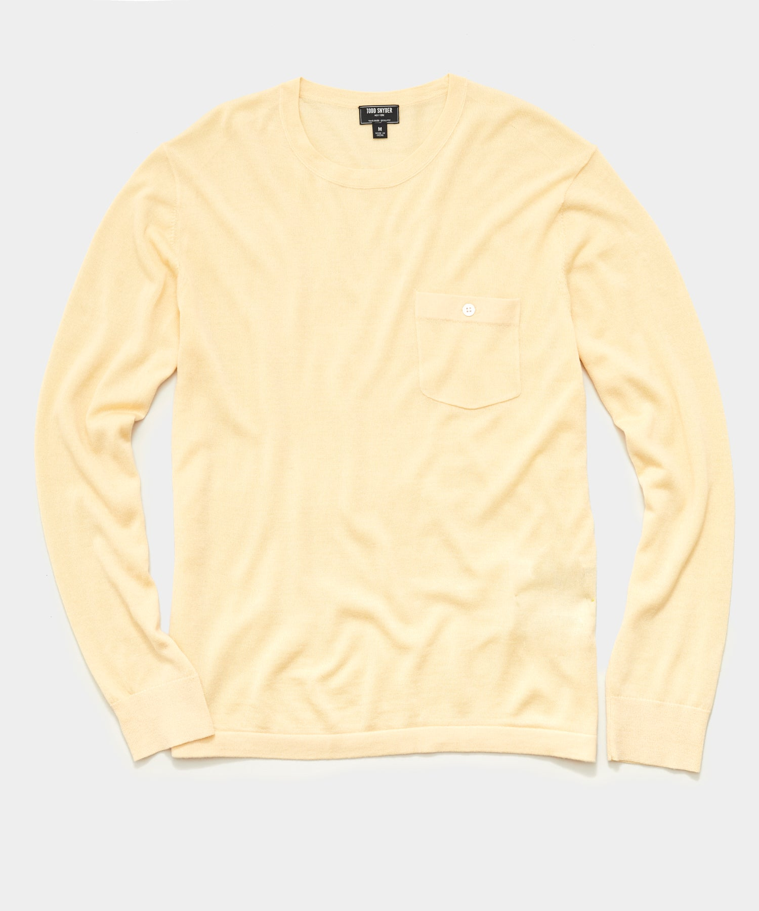 Premium Cashmere Pocket Tee in Pale Yellow