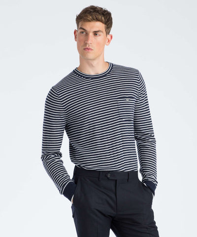 Cashmere T-Shirt Sweater in Navy Stripe