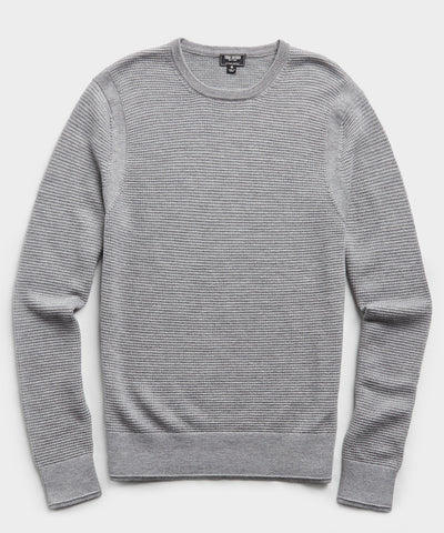 Italian Merino Waffle Crew in Grey Heather