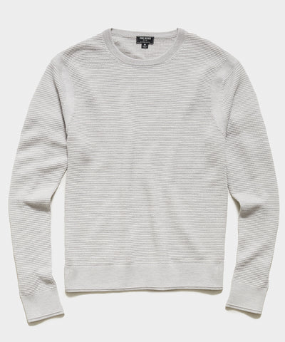 Italian Merino Waffle Crew Sweater in Dove Grey