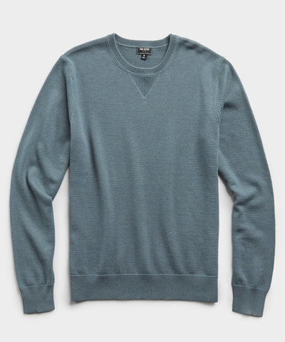 Cotton Cashmere Sweater in Blue