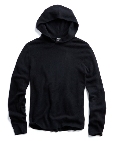 Cashmere Popover Hoodie in Black