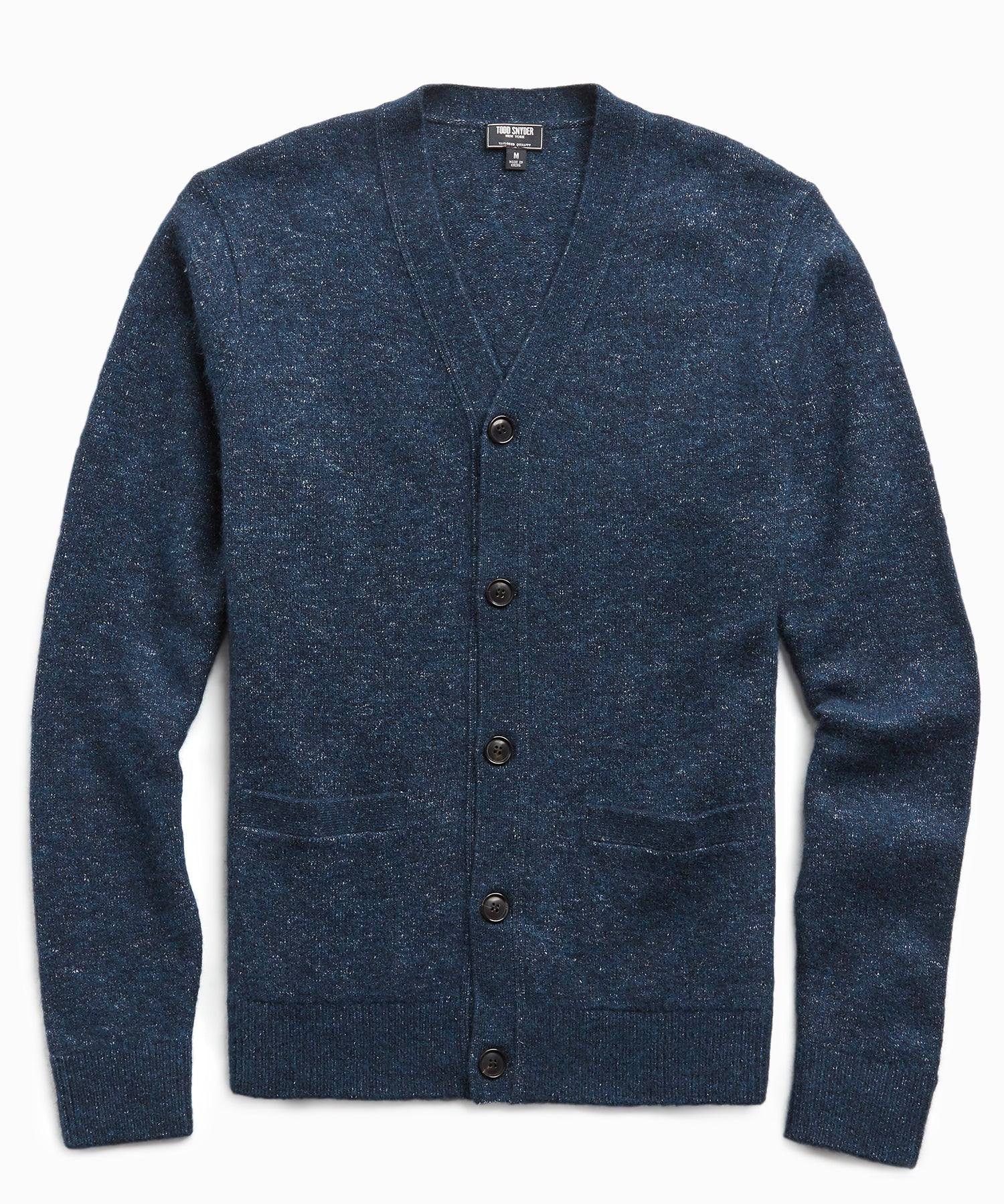 Italian Merino Cardigan in Navy
