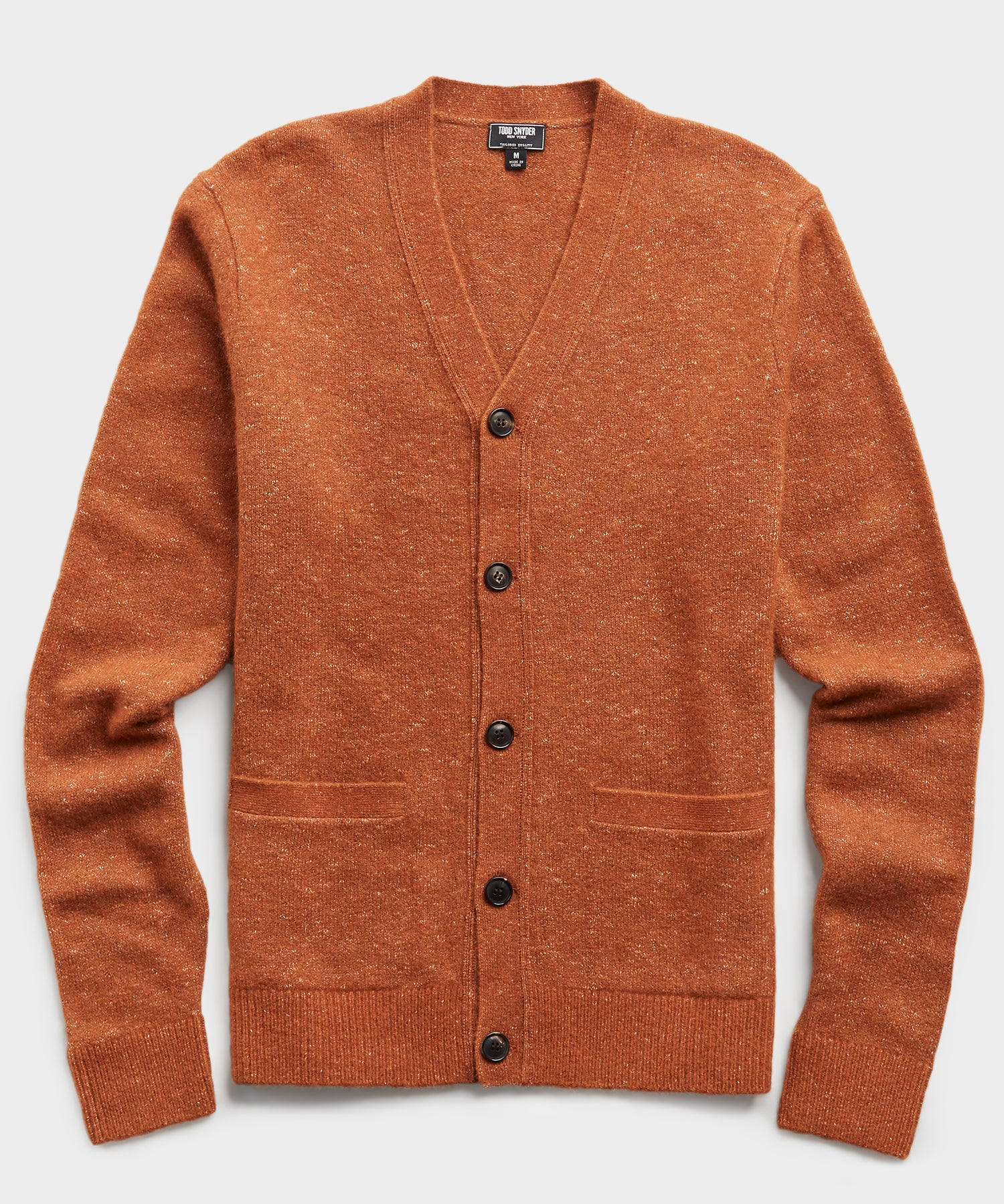 Italian Merino Cardigan in Rust