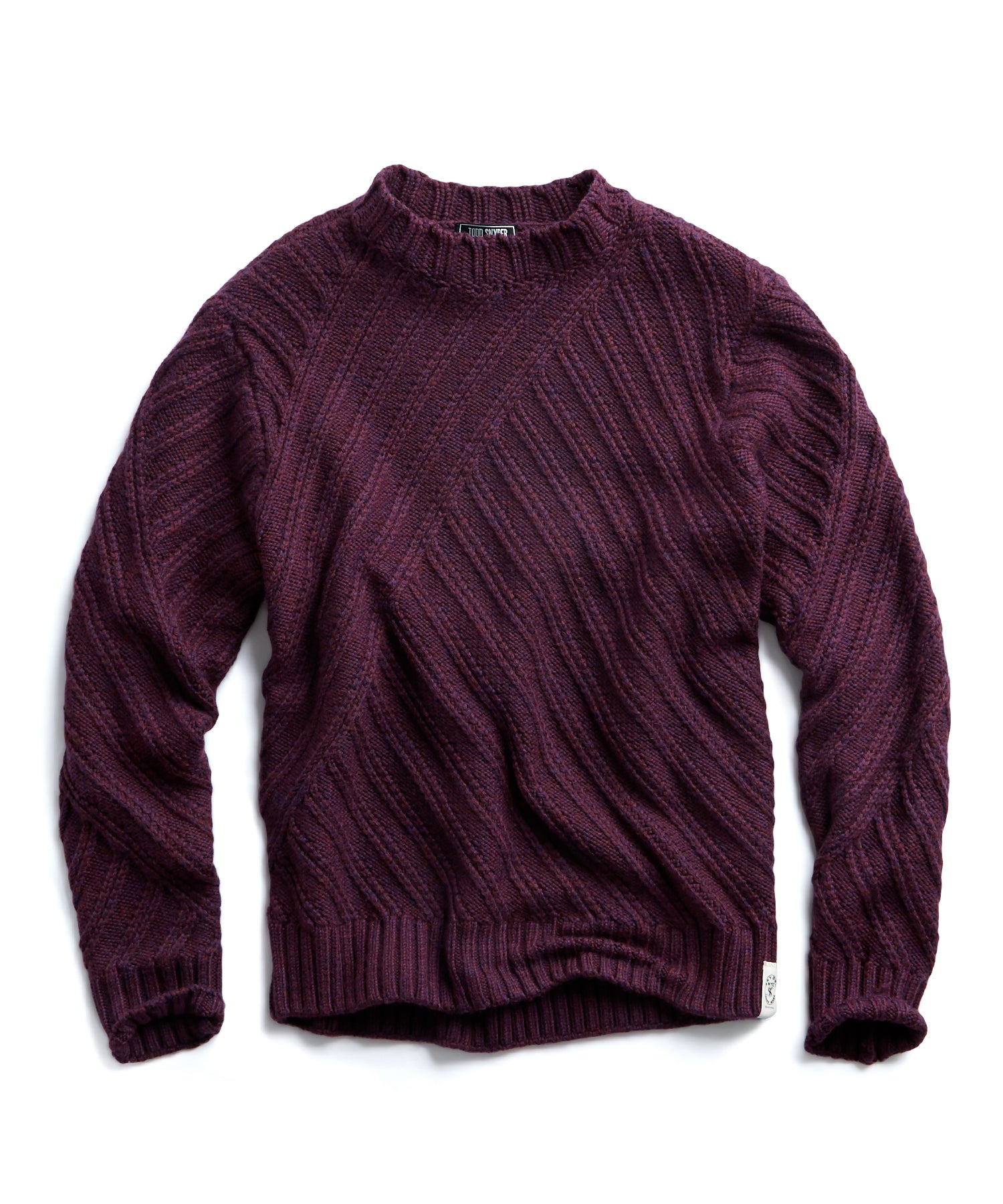 Hand Knit Cable Crewneck Sweater in Maroon