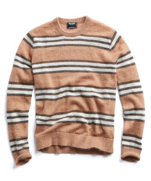 Italian Brushed Wool Striped Sweater in Camel