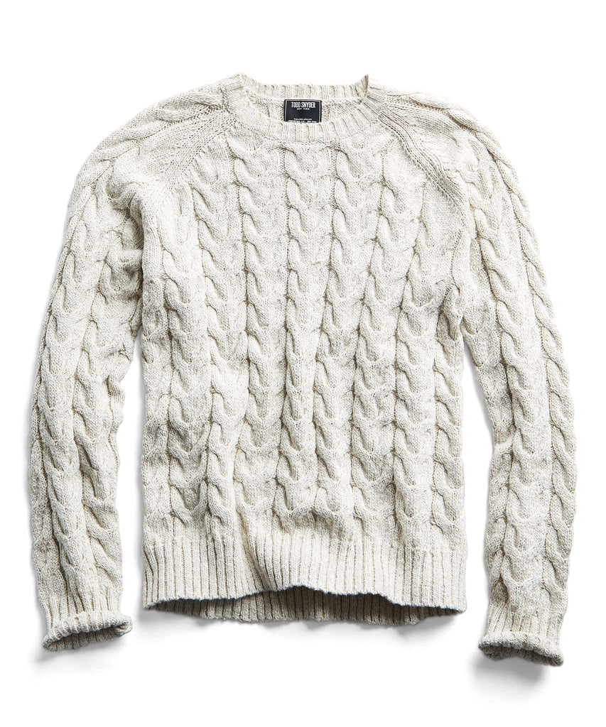 Cotton Cable Crewneck Sweater in Cream