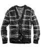 Brushed Italian Wool Cardigan in Black Check Alternate Image