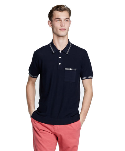 Tipped Cotton Silk Micro Mesh Tipped Polo in Navy