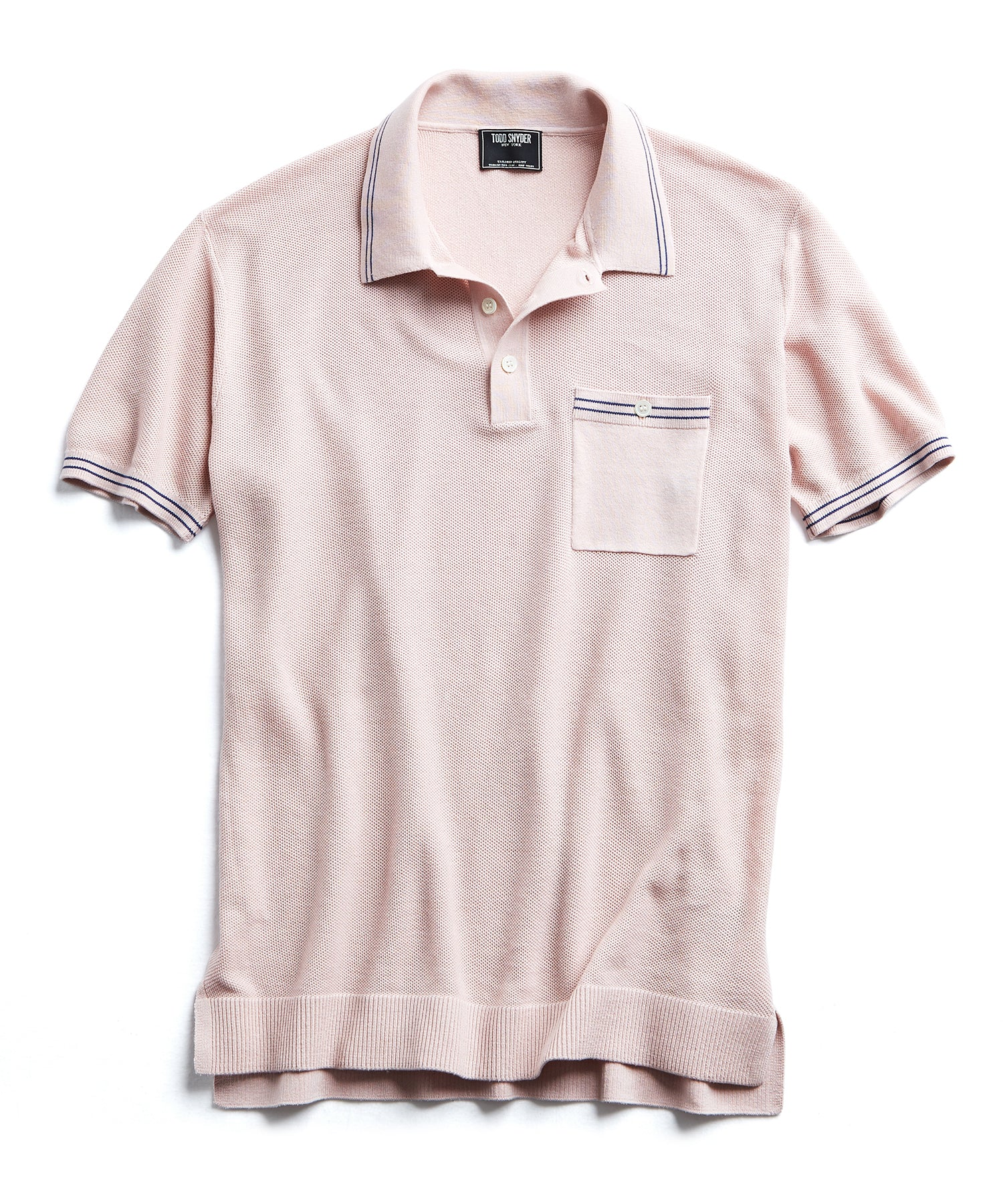Tipped Cotton Silk Micro Mesh Tipped Polo in Pink
