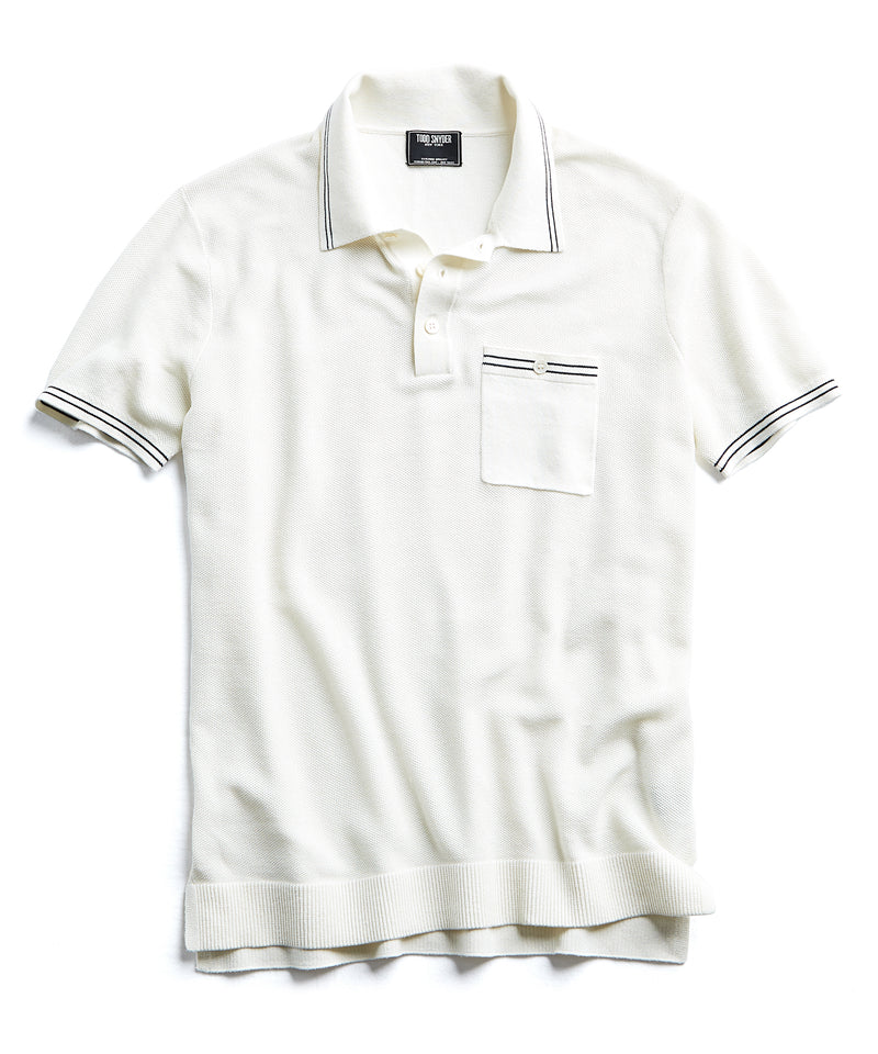 Tipped Cotton Silk Micro Mesh Tipped Polo in White