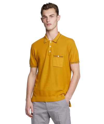 Tipped Cotton Silk Micro Mesh Tipped Polo in Mustard
