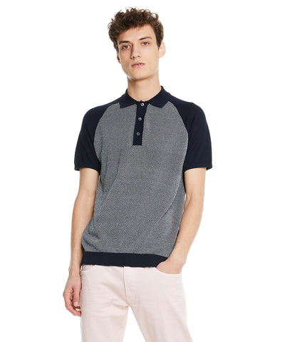Honeycomb Stitch Raglan Polo