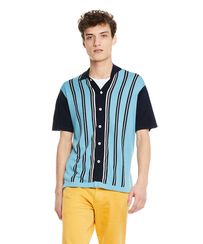 Vertical Stripe Button Down Polo in Navy