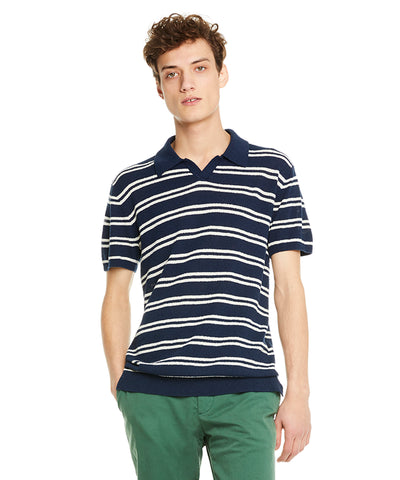 Striped Boucle Polo in Navy