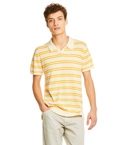 Striped Boucle Polo in Cream