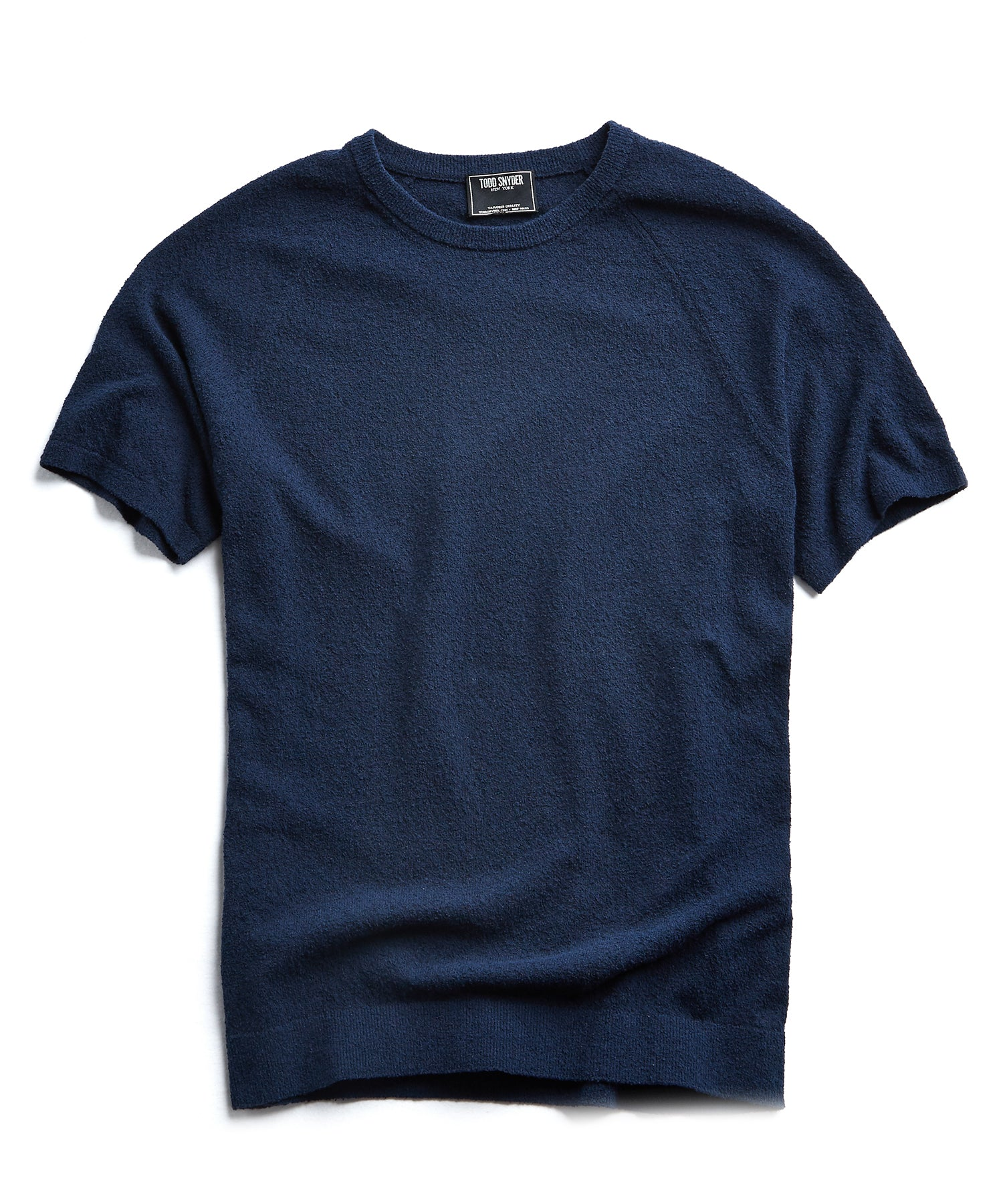 Boucle Short Sleeve Sweater in Navy
