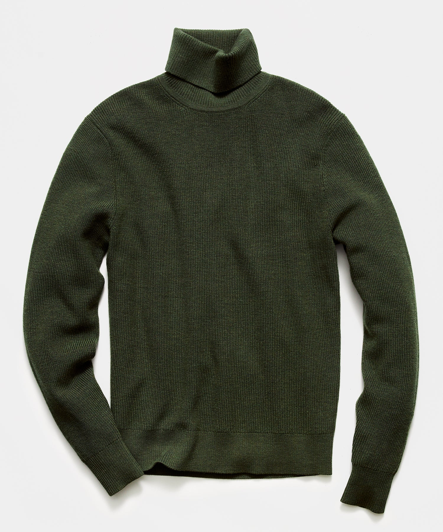 Solid Ribbed Turtleneck in Olive