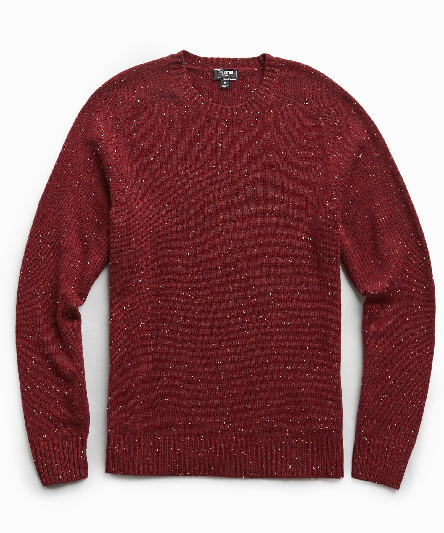 Cashmere Donegal Crew in Merlot