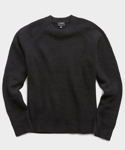 Italian Ribbed Raglan Crew in Black