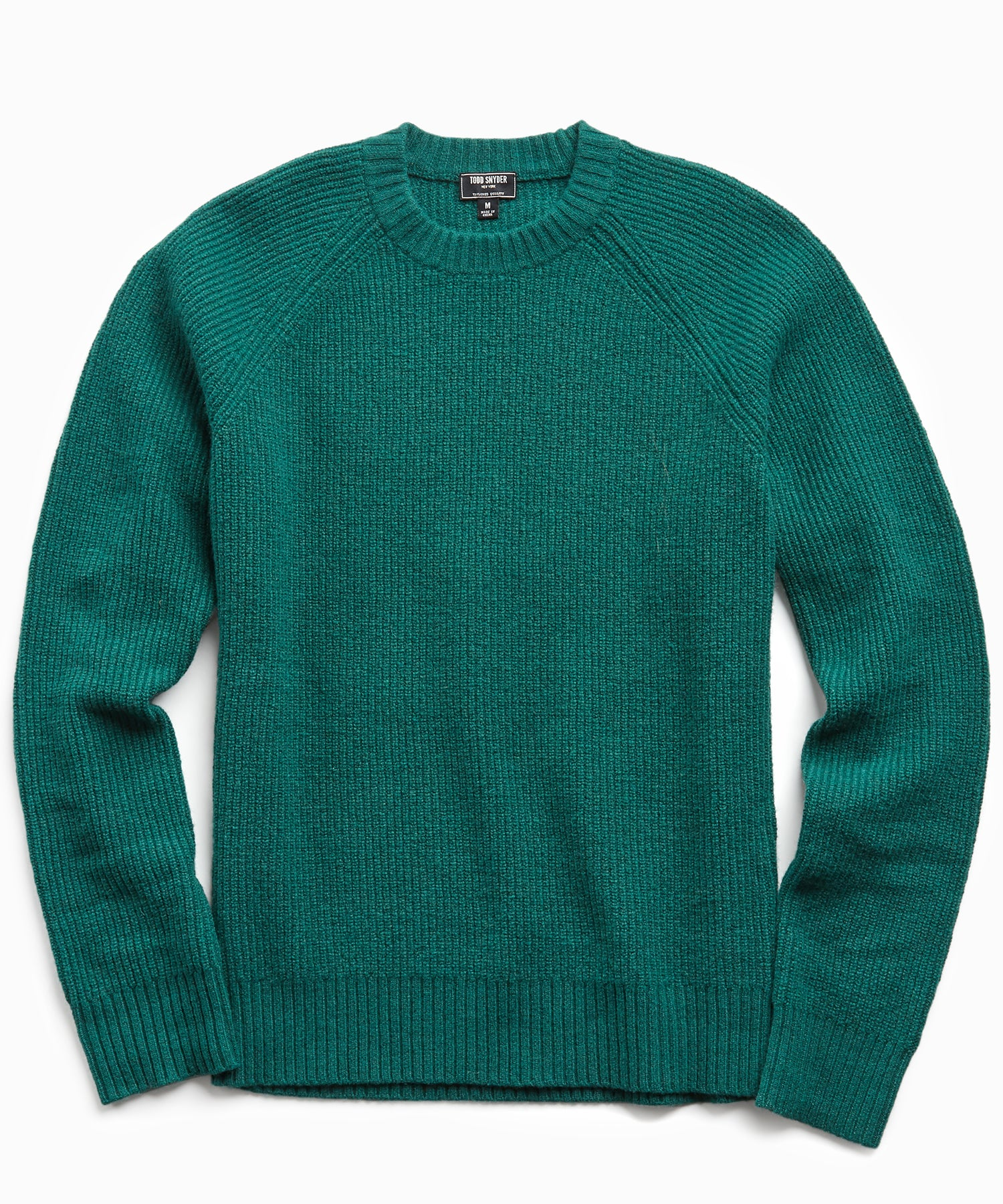 Italian Ribbed Raglan Crew in Hunter Green