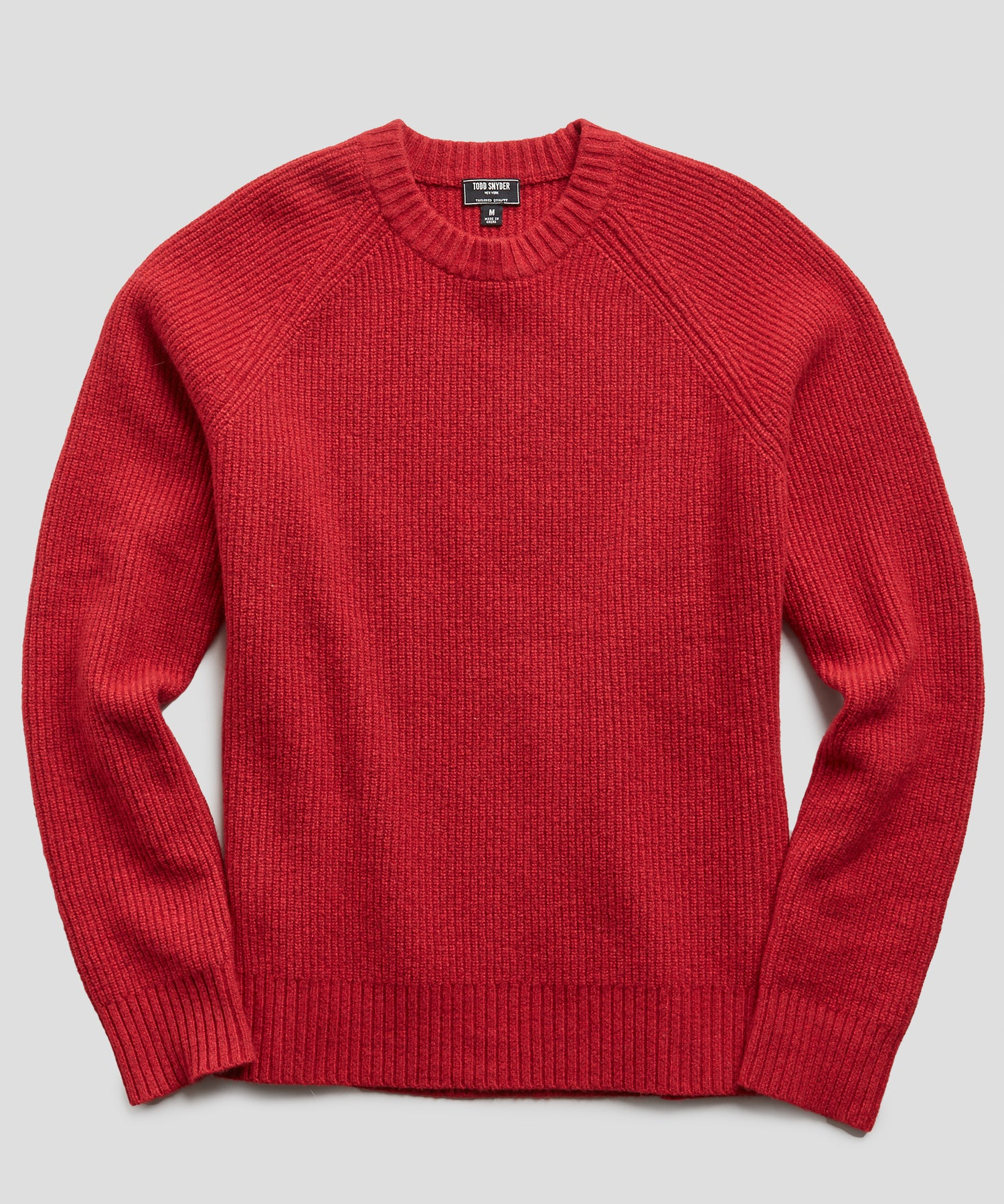 Italian Ribbed Raglan Crew in Red
