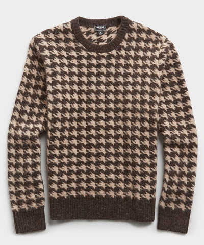 Houndstooth Alpaca Crew in Brown