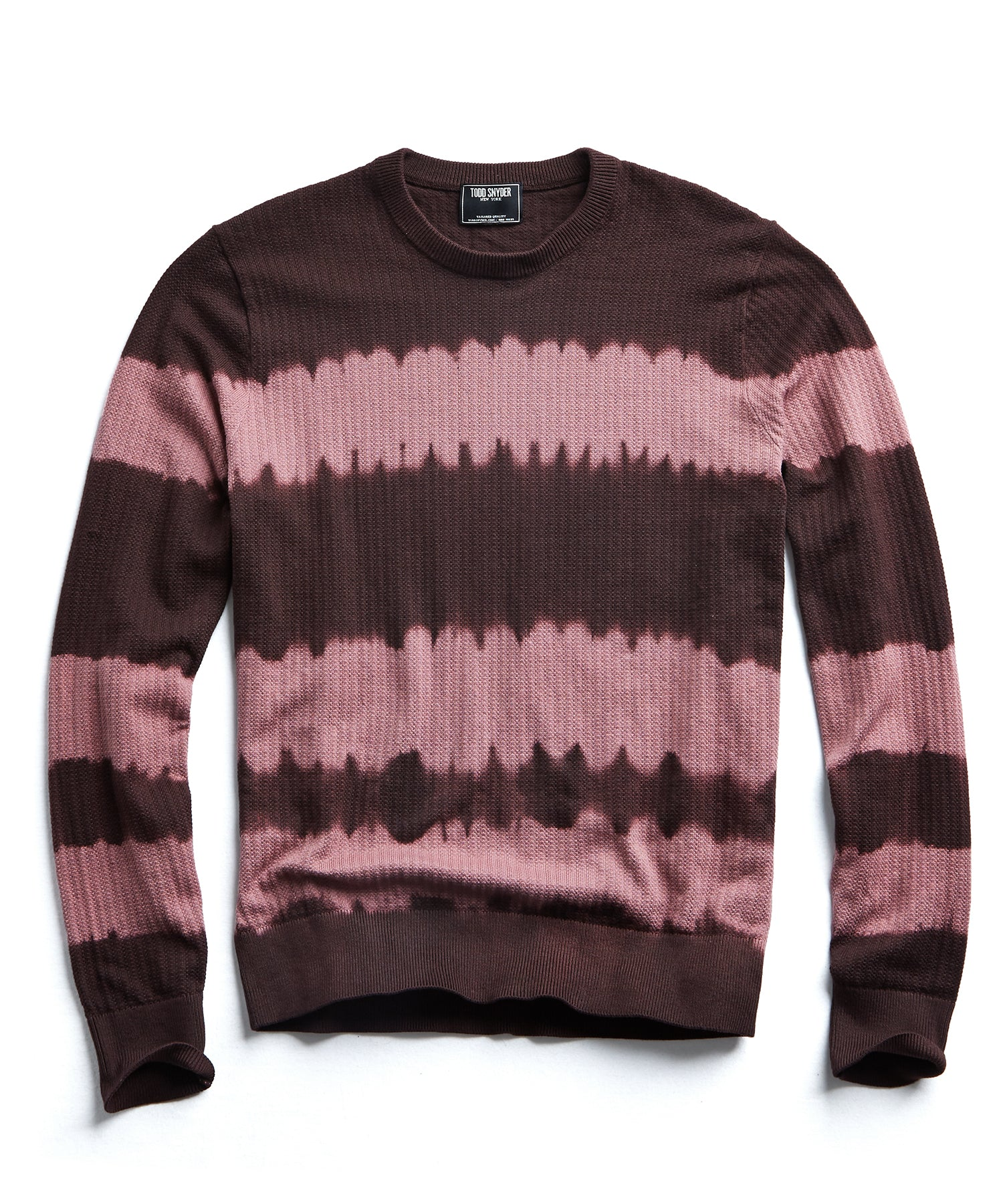 Cotton Tie Dye Crewneck in Burgundy