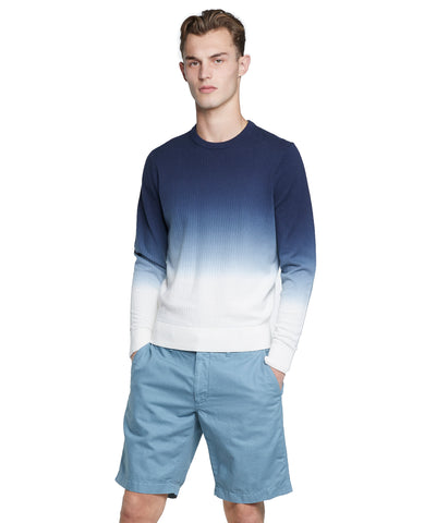 Dip Dye Cotton Crewneck Sweater in Navy